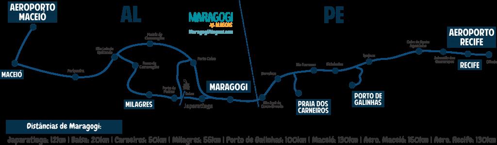 Mapa de como chegar em Maragogi através do serviço de transfer para Maragogi