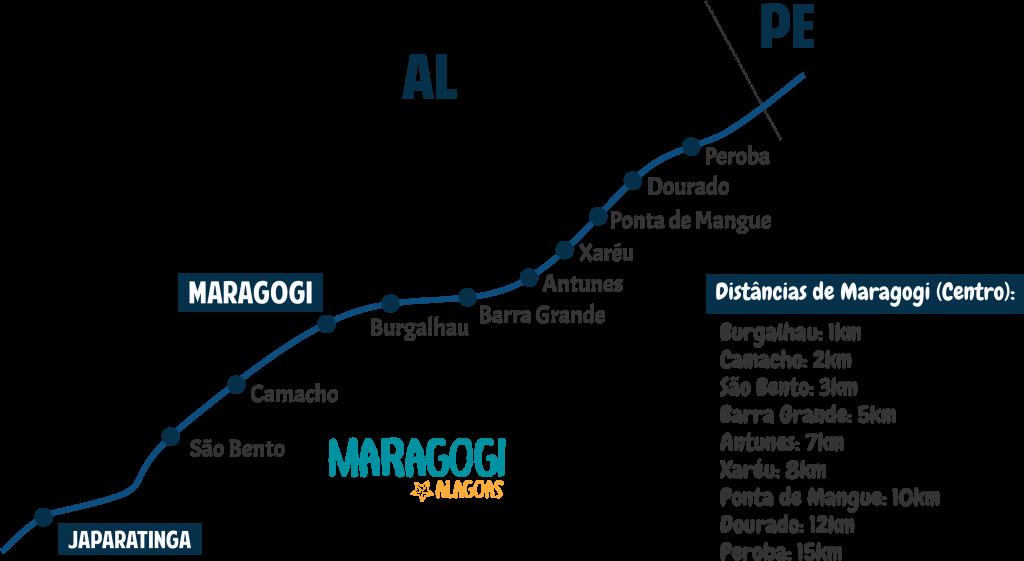 Mapa com todas as Praias de Maragogi